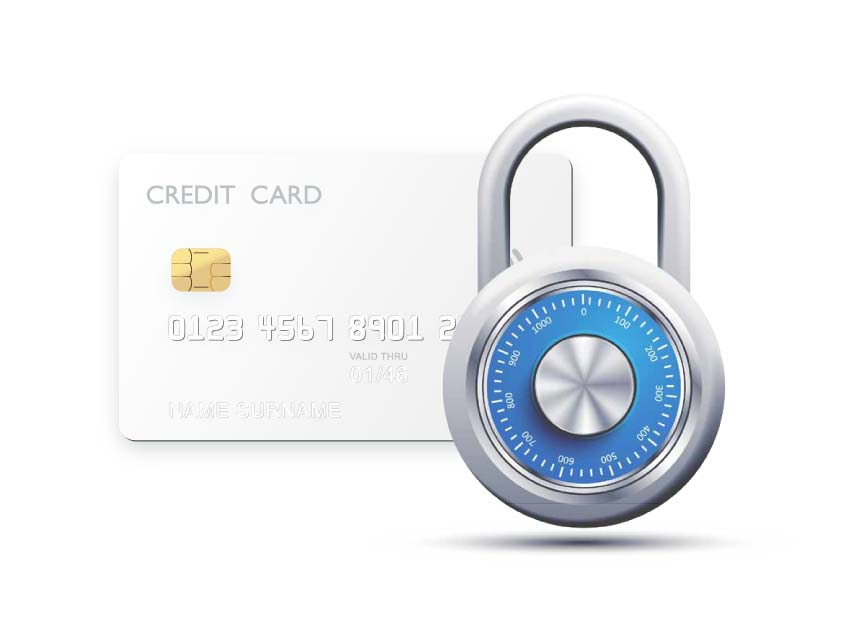 credit card and a lock